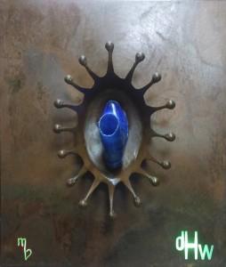 Druppelkroon: de Herenschoenenwinkel van Bommel te Eindhoven, staal met kunststof schoen en verlichting,  2011 (afmetingen: 110 x 90 cm)