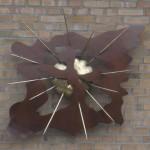 Metalen wandbeeld:  privé bezit Lage Mierde, brons, messing en corten staal (2009)